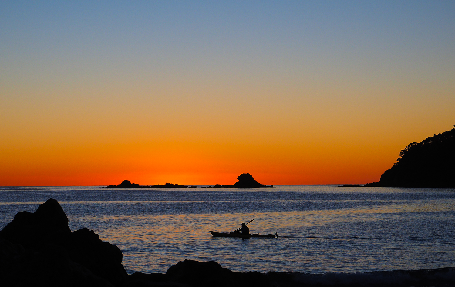 Dawn kayaker. Mount Maunganui, NZ. 1/320sec, f/7.1, ISO 200. Olympus O-MD E-M1 & Panasonic Leica DG Nocticron 42.5mm f/1.2 lens.