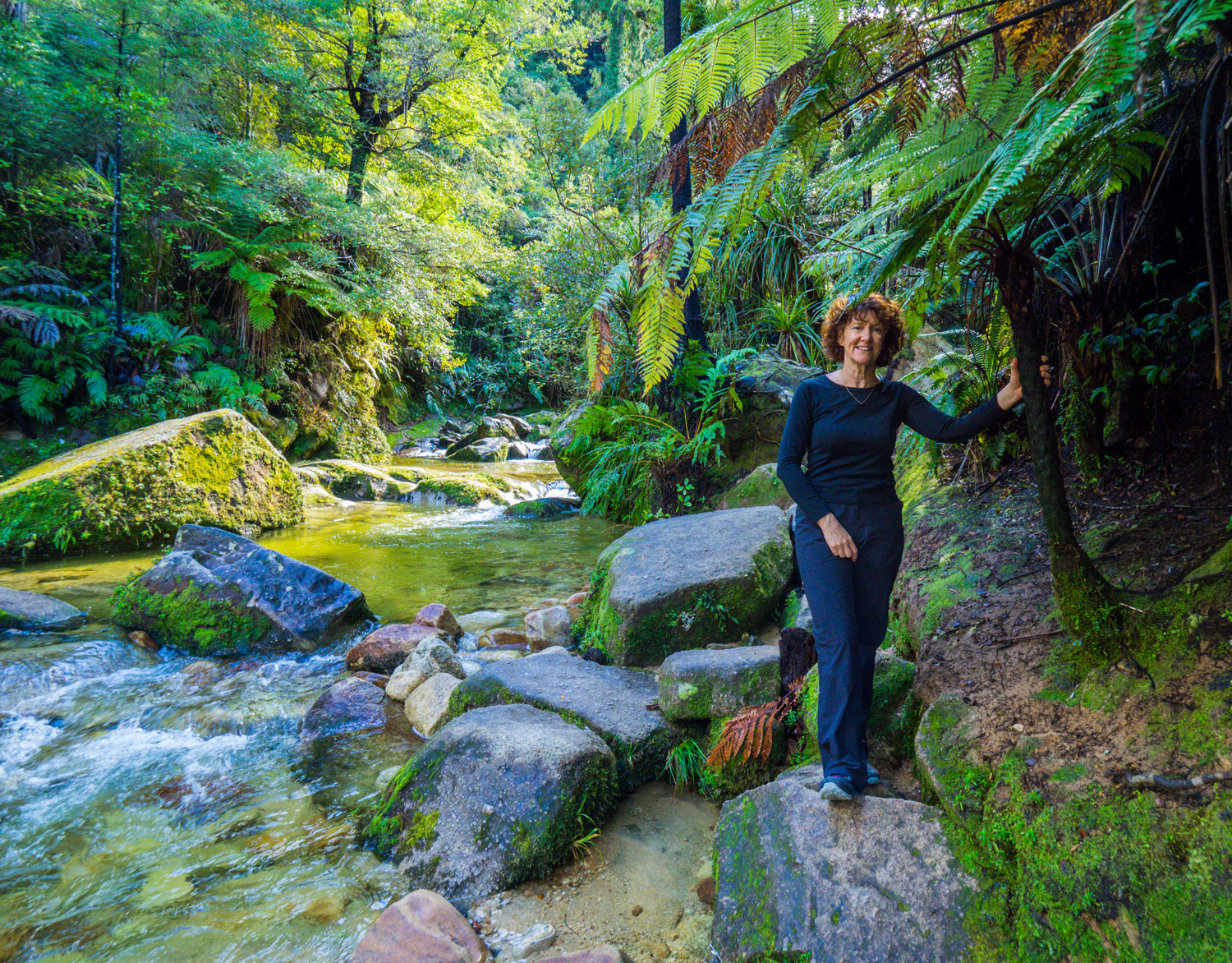 Margie near 'Cleopatra's Pool' in Abel Tasman National Park, Nelson, NZ, 27 Aug 2016. 1/60sec, f/4, ISO 800