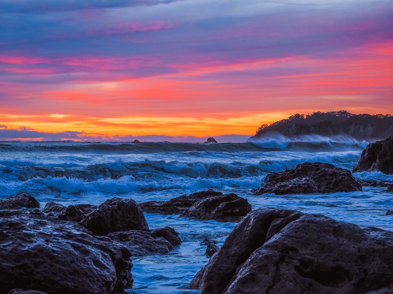 Fiery dawn. Mount Maunganui, NZ. P7106805
