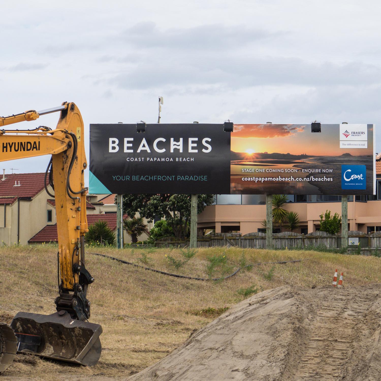Coast Papamoa Beach, Tauranga, NZ. My photo adorning the billboard and website.