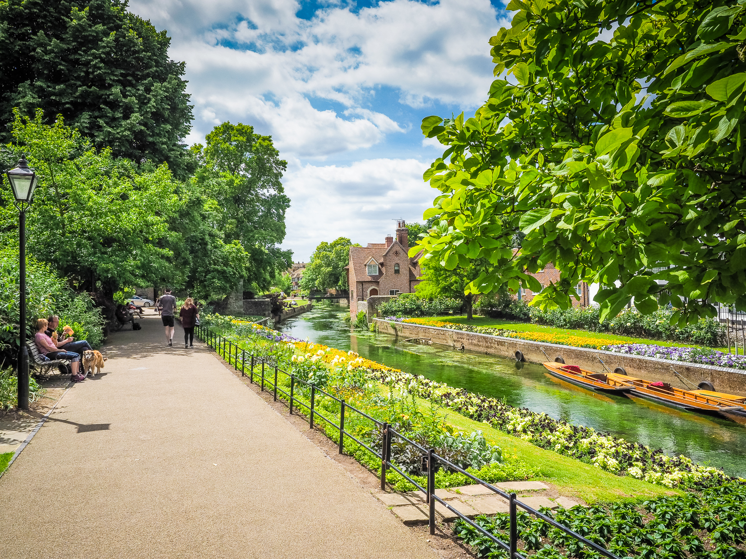 Canterbury, Kent, and the crystal clear River Stour, UK.