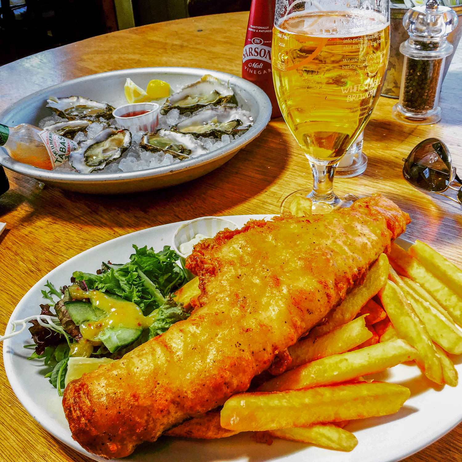 Whitstable fish fillet, Whitstable oysters and Whitstable Lager.