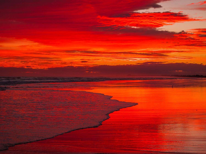 Red dawn, Papamoa Beach, NZ. P2084092
