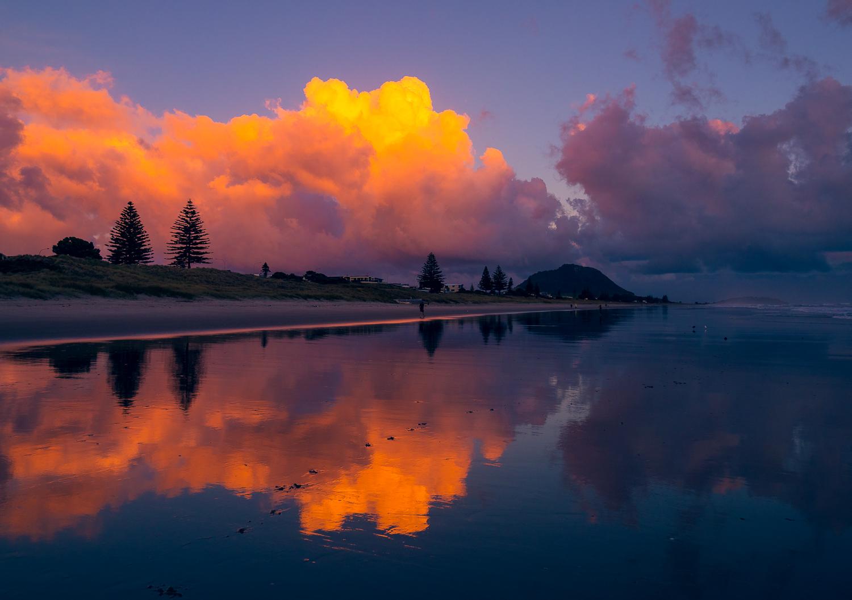 Fiery dawn. Mount Maunganui Beach. P3084324
