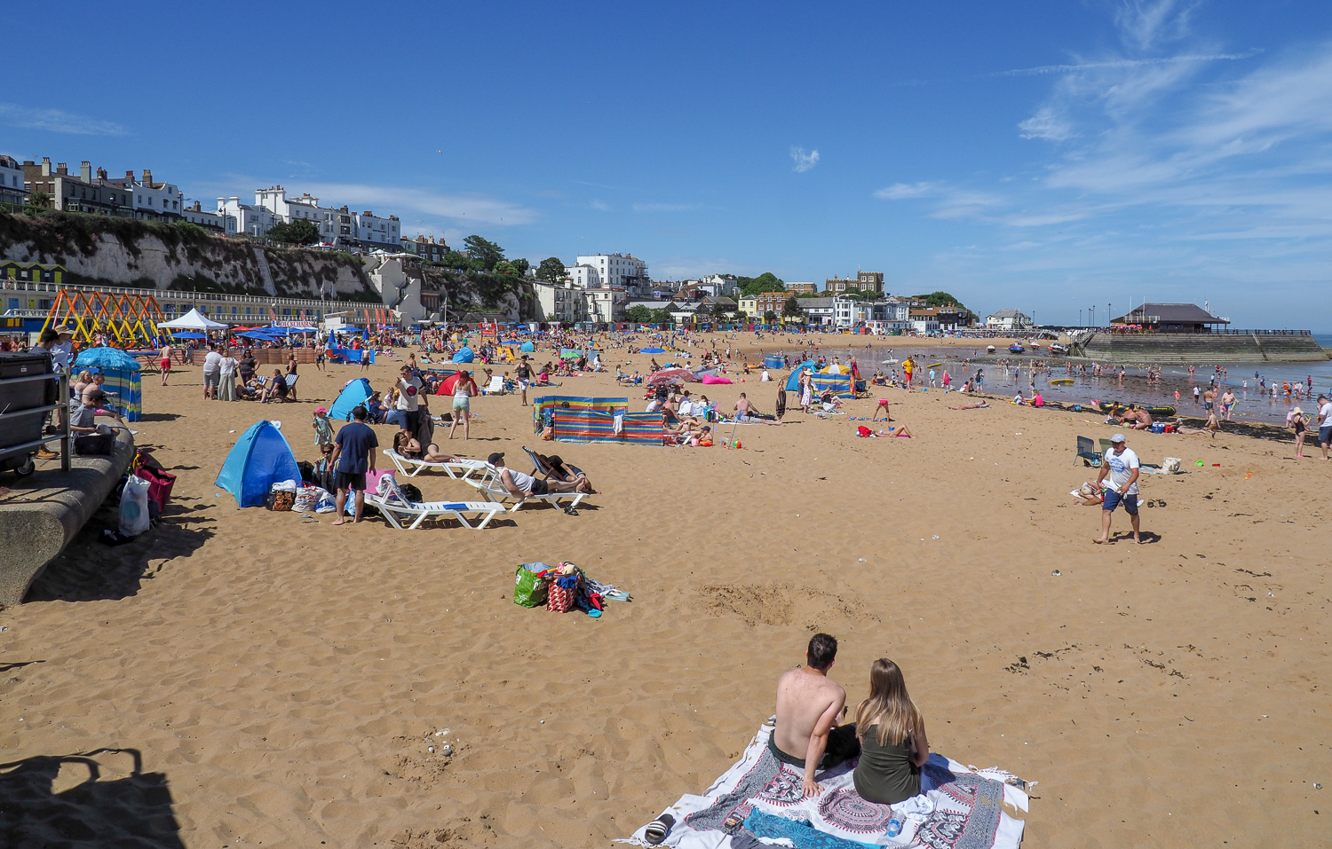 Beside the seaside beside the sea on a glorious summer day. Broadstairs Beach, Kent, UK.