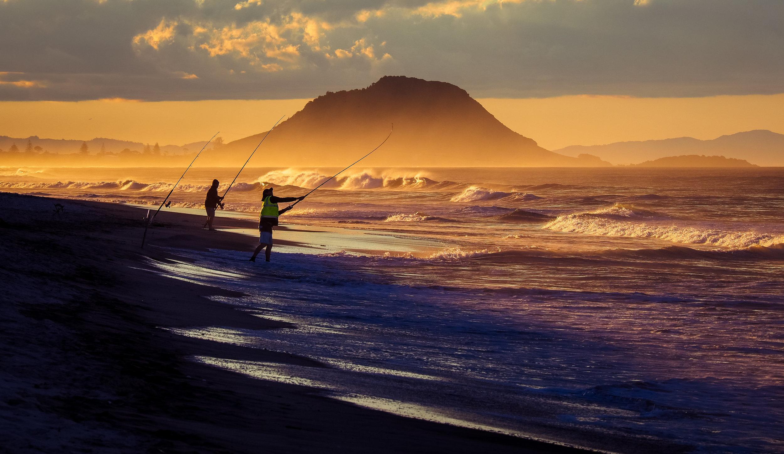 Catch of the day. Papamoa Beach. P9080026
