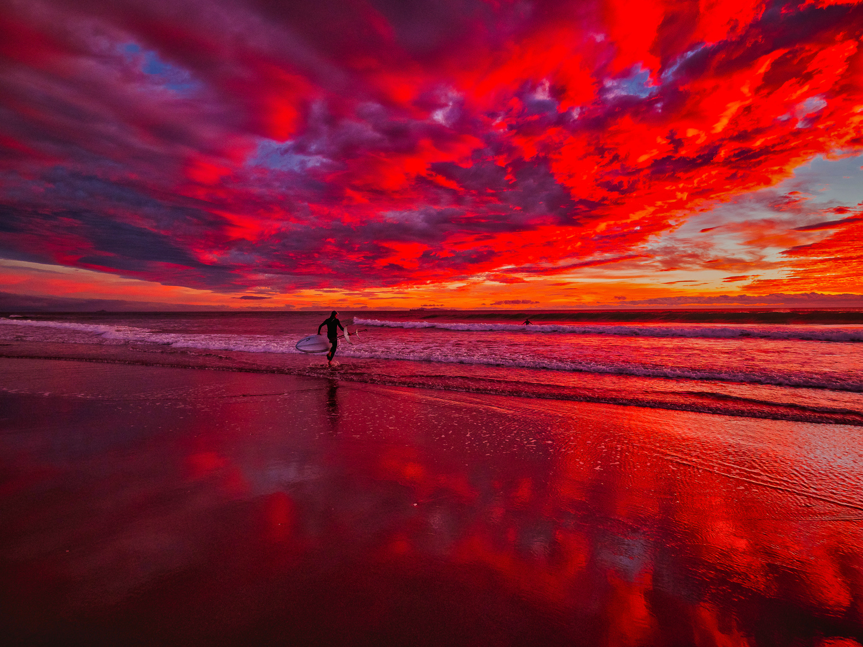 Fire in the sky. Dawn, Papamoa Beach. P6150019