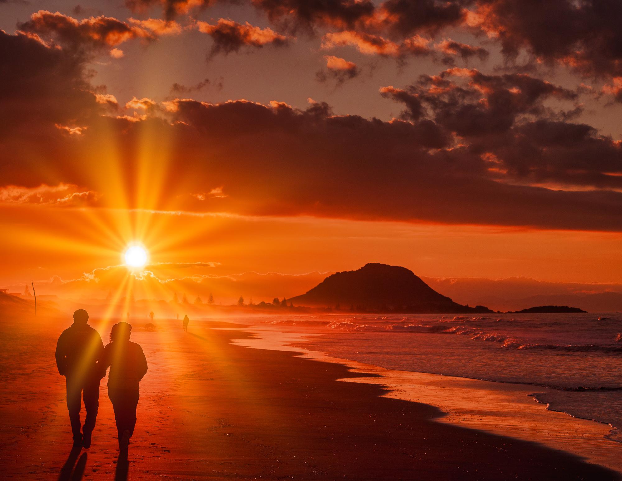 Evening walk. Papamoa Beach, Bay of Plenty. P6280022