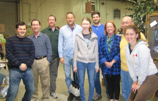 Hardworking group - Helping organize and sort at ReStore