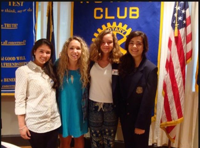 Youth Exchange Students - Outbound Lily Johnston, Hannah Obenaus, Milena Urroz with Karla Acosta