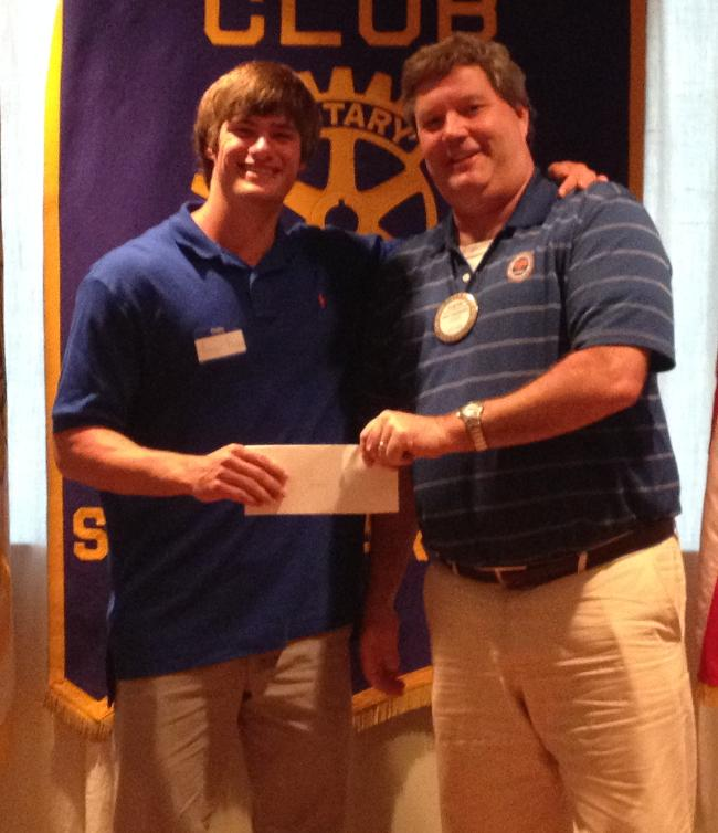 Aaron Brown, rising Sophomore at Erskine College, receives a scholarship for $2000.00.