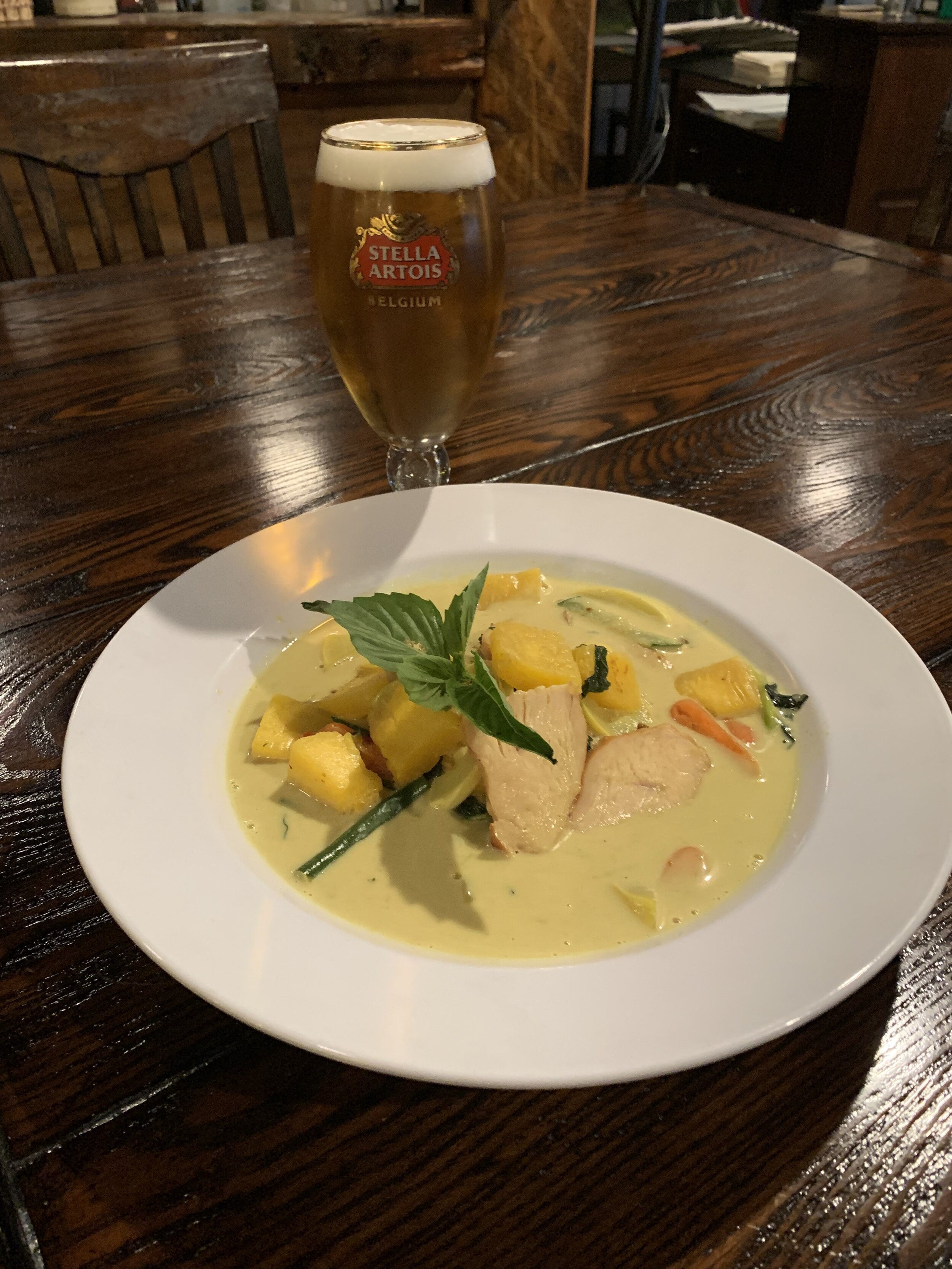 Daly's Restaurant - Dinner - $25Fall Curry Bowl - Roasted turkey yellow curry maple bowl with fall vegetables including pumpkin, squash, and zucchiniFabiano Beverage - Stella Artois