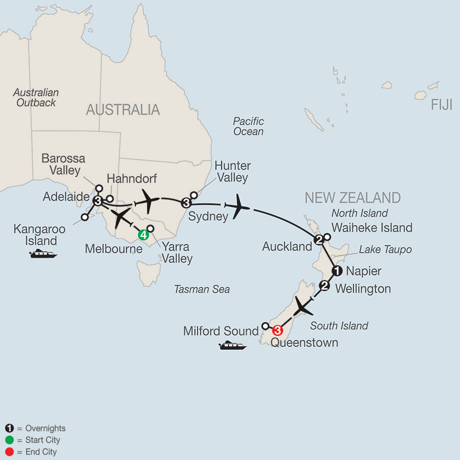 Wines of Australia & New Zealand Map - Avant Garde Travel