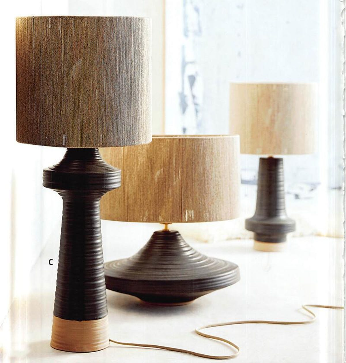 Striated Stoneware Tall Lamp with Jute Shade.jpg