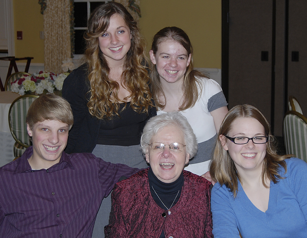 Diane with her grandchildren - Trevor, Madison, Kelsey and Caitlyn - at Diane's 70th birthday party