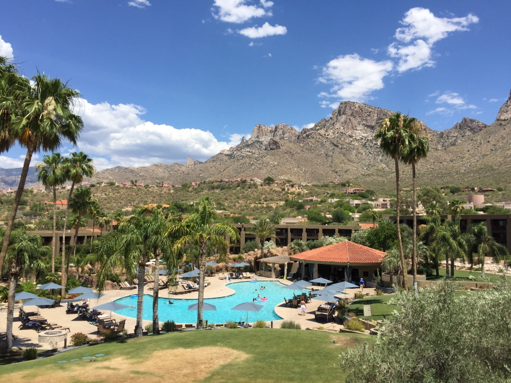 The Hilton Tucson El Conquistador Resort Hotel...right next to the mountains!