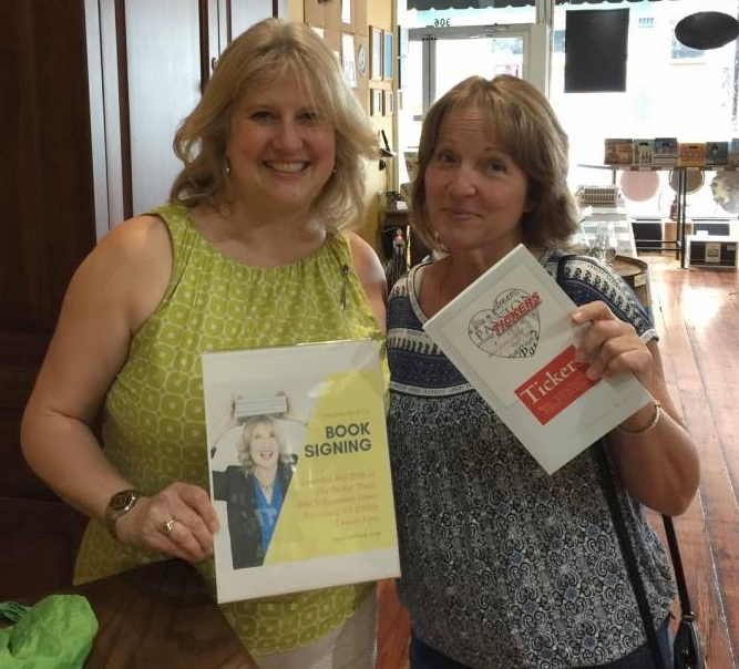 "Kim and Pamela at the ""Tickers"" book signing at the Bucket Trade in Petersburg, VA, on July 30, 2017."