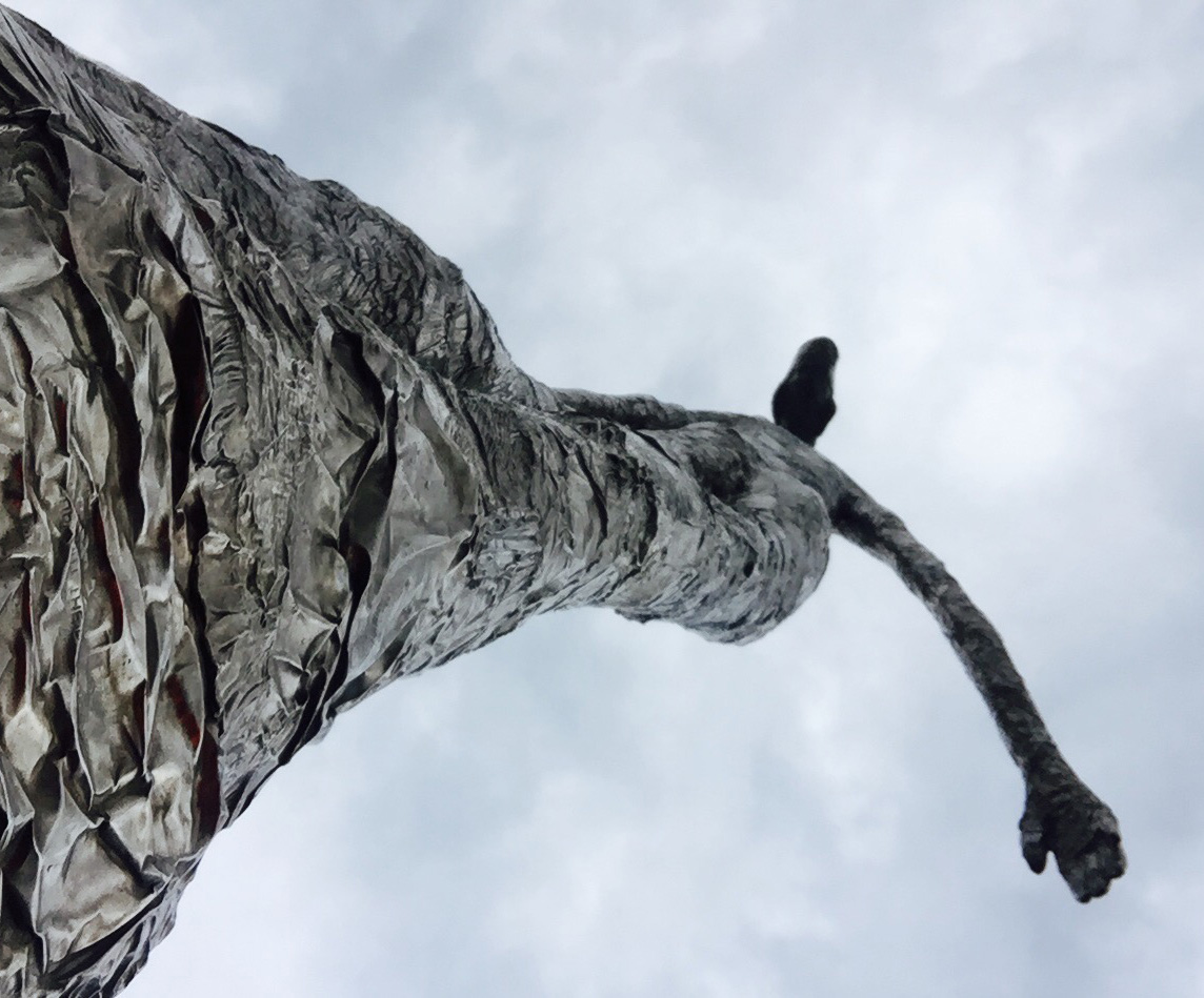 """Looking Up"" by sculptor Tom Friedman , residing on the south side lakeshore."