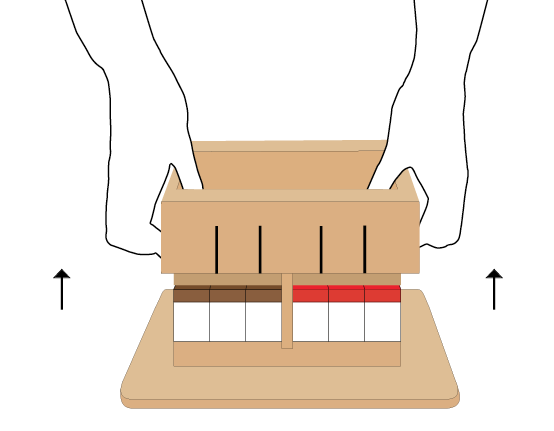 When you prepare to eat, hold your thumb on the surface press and use your other fingers to lift the cutting edges box.