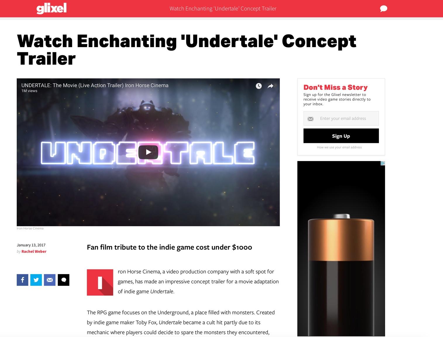 Glixel.com - Undertale trailer interview with Glixel.com (RollingStone.com's gaming section)