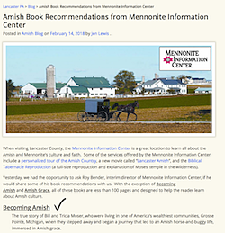 Becoming Amish is a Top 5 read - … for people wanting to know what it's truly like to live an Amish life, says Mennonite Information Center, Lancaster, Pennsylvania,