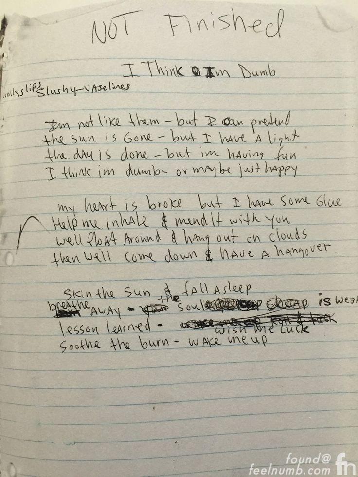Kurt Cobain journal page