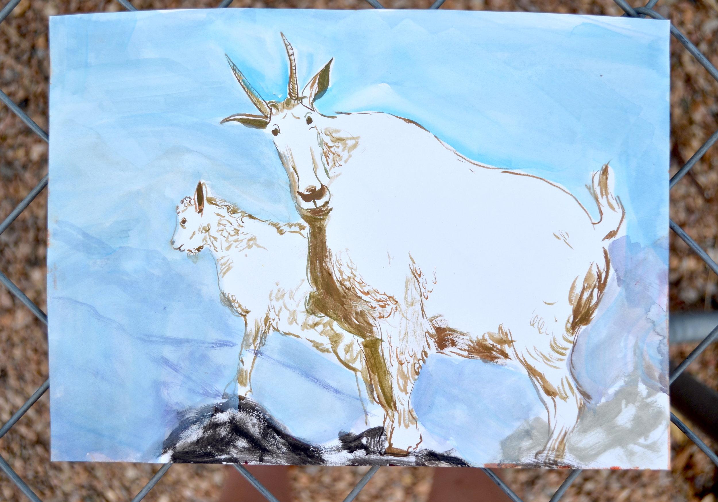 Kat Kinnick-Mountain Goats-Gouache on Paper.JPG