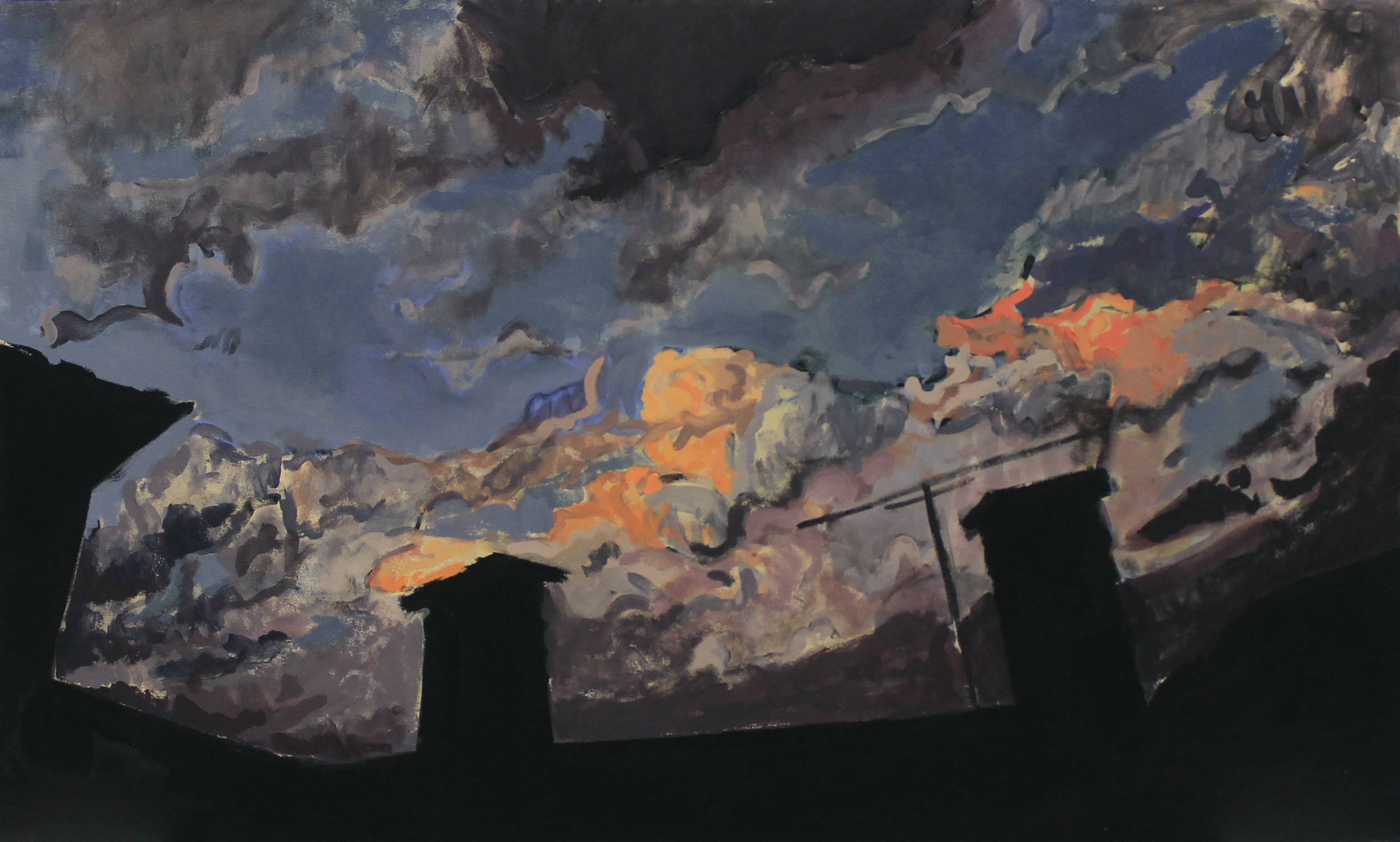 "Sunset Over Monte Castello, acrylic on canvas, 36"" x 58"",2016"