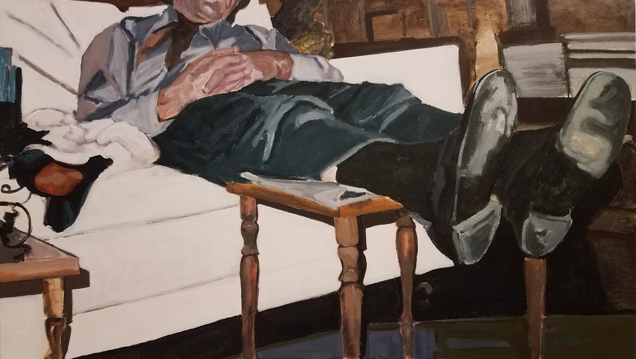"""Idle State, acrylic on canvas, 28"""" x 50"""", 2017"""