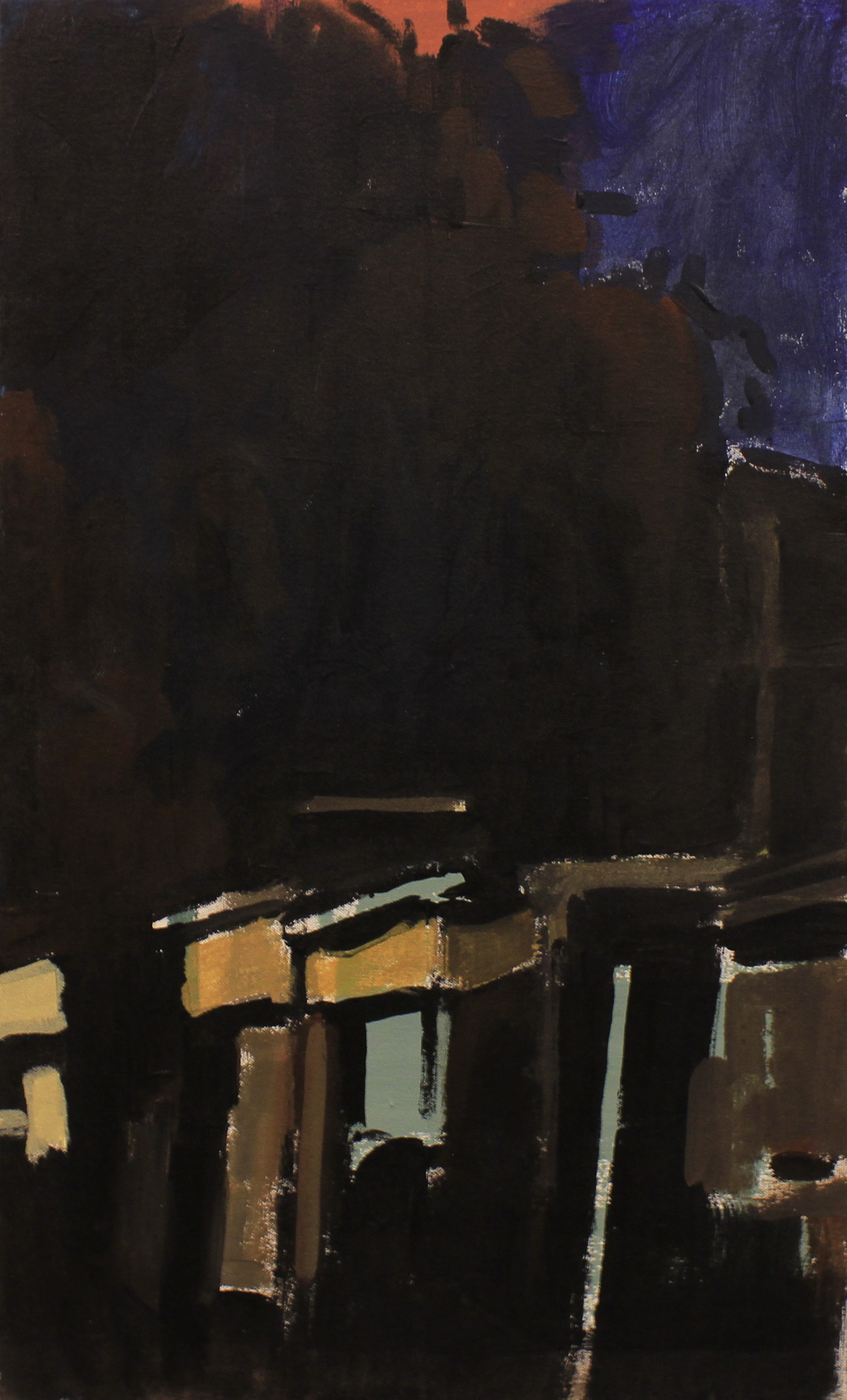 "An alley at night, acrylic on canvas, 25"" x 19"", 2016, private collection"