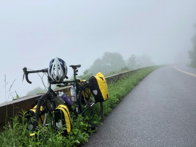The Space Horse & I took a rest during a misty morning on the Blue Ridge Parkway