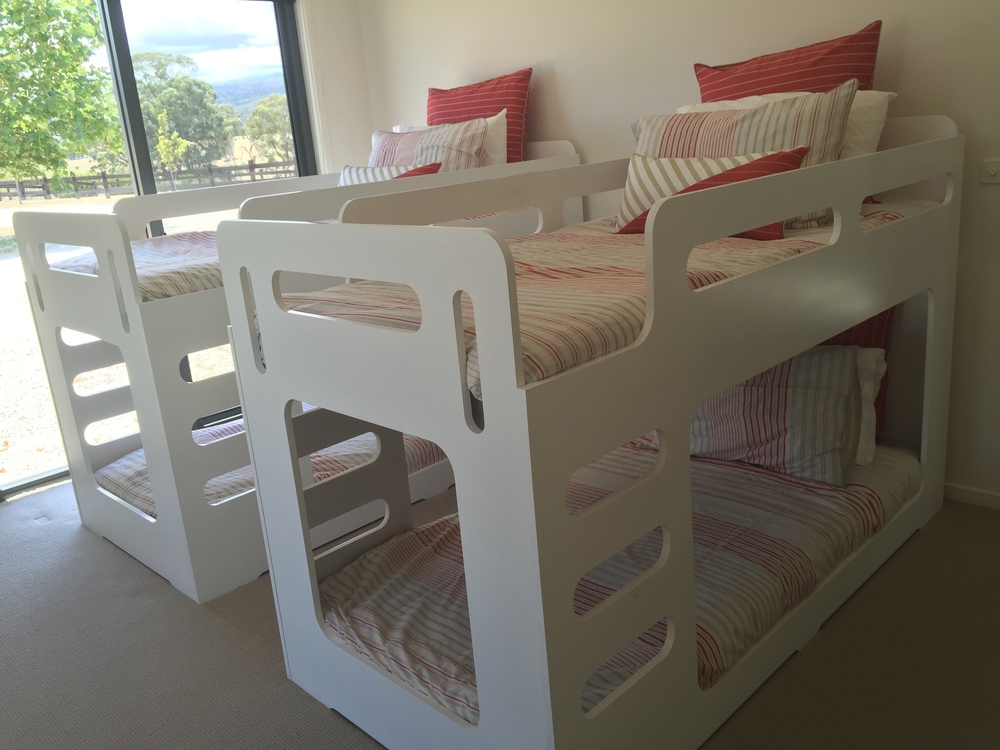 - Bedroom 4 is the bunk room and equipped with 4 single beds suitable for adults and children, an ensuite and built in wardrobes.