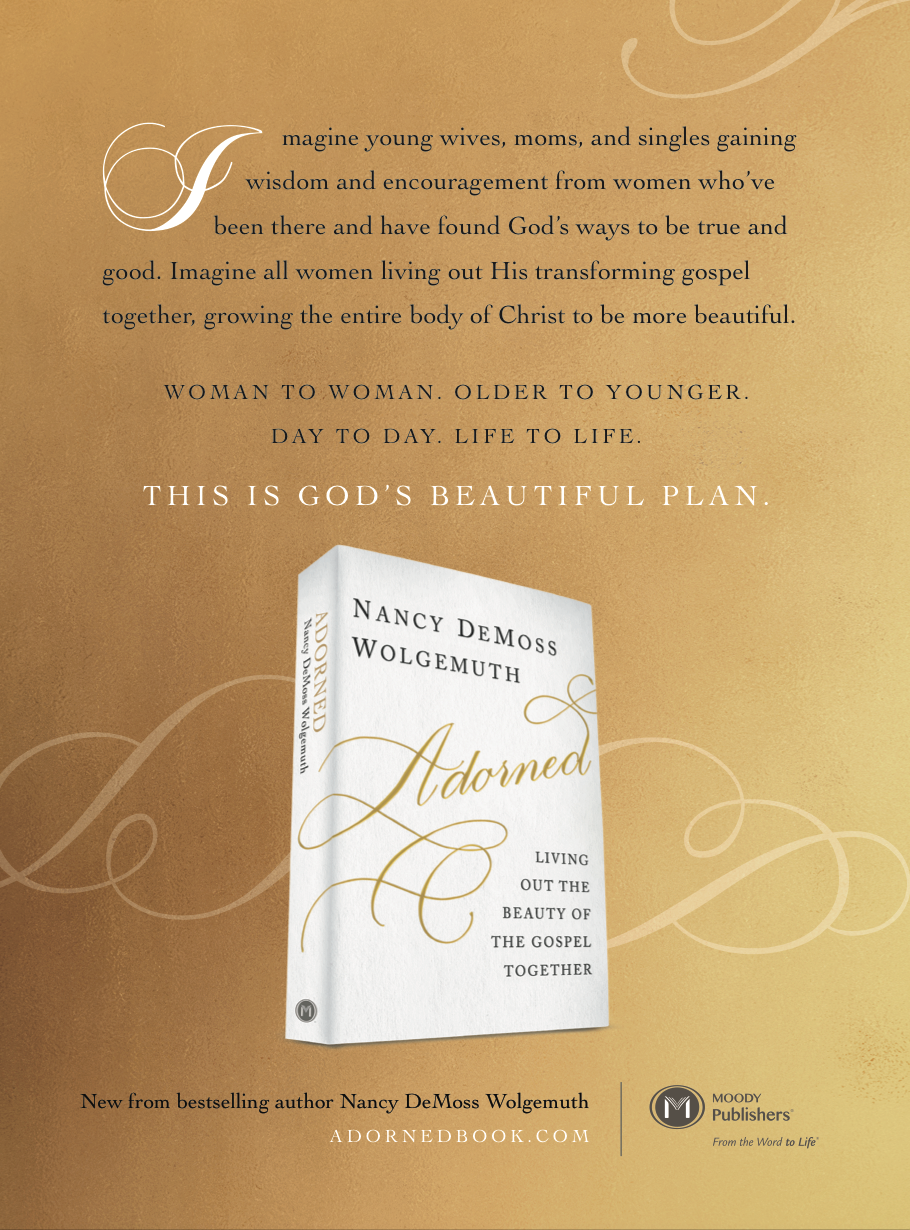 Print ad for Moody Publishers book  Adorned