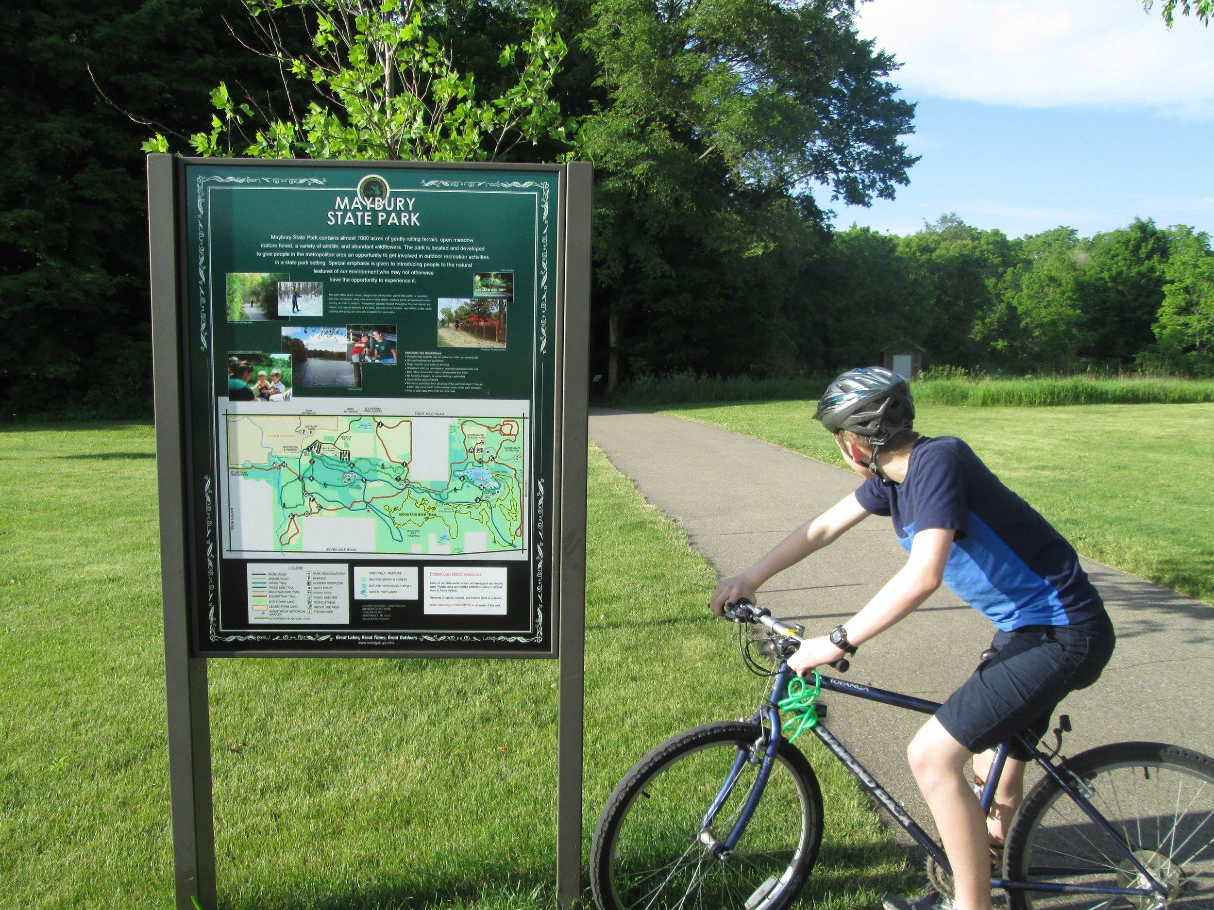 Biking at Maybury State Park in Northville