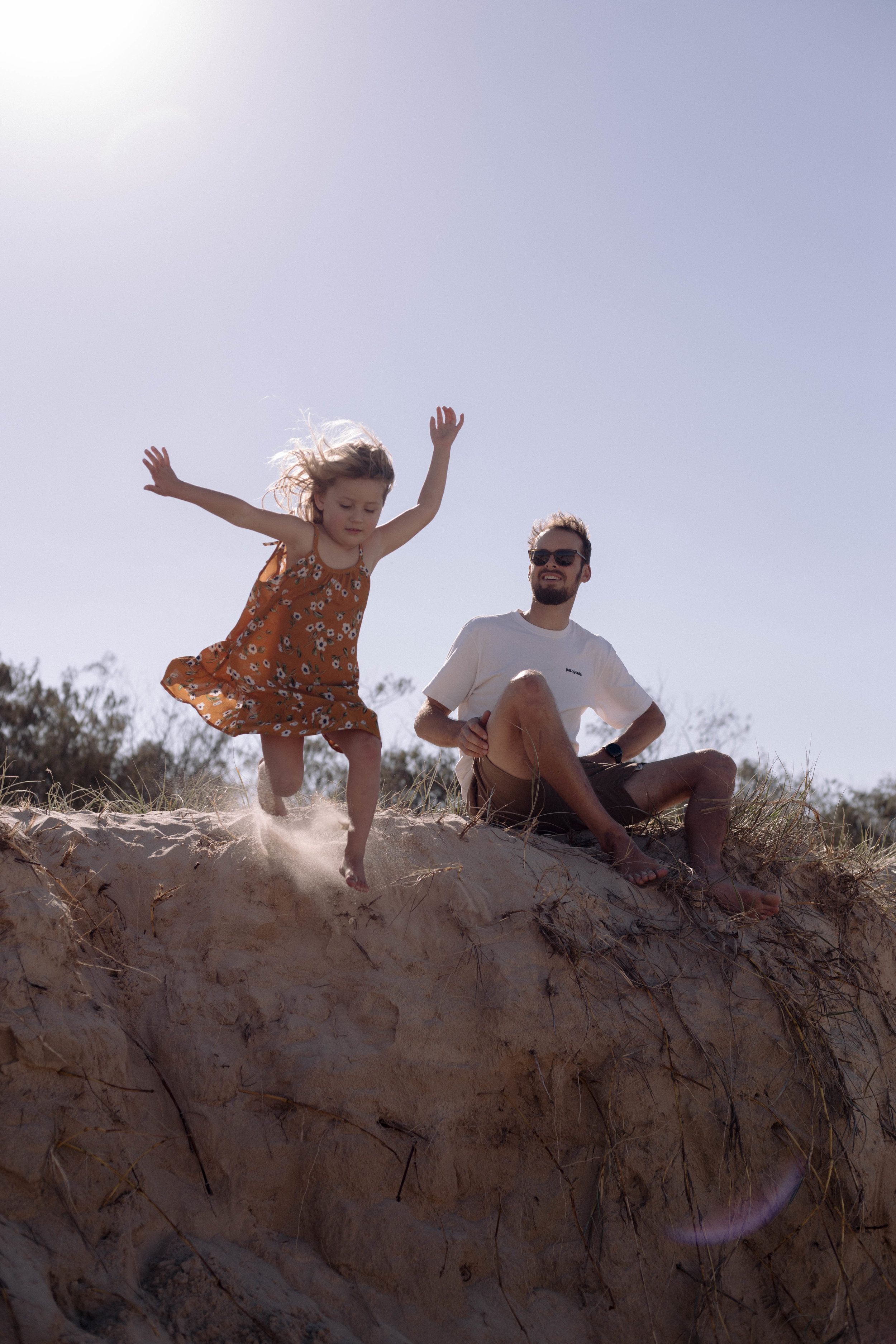 fathers day, little girl jumping, father daughter