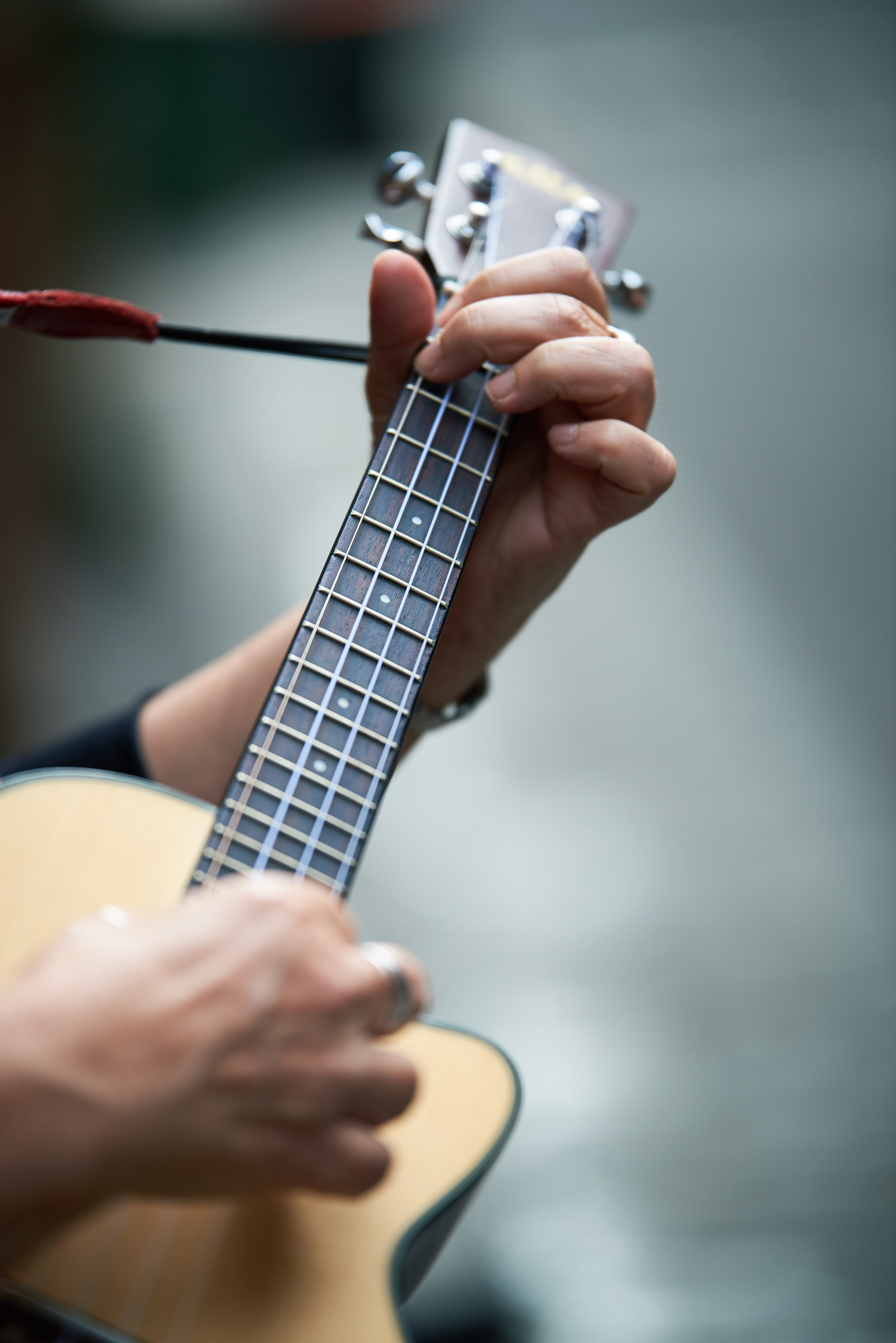Closeup of musician playing ukulele
