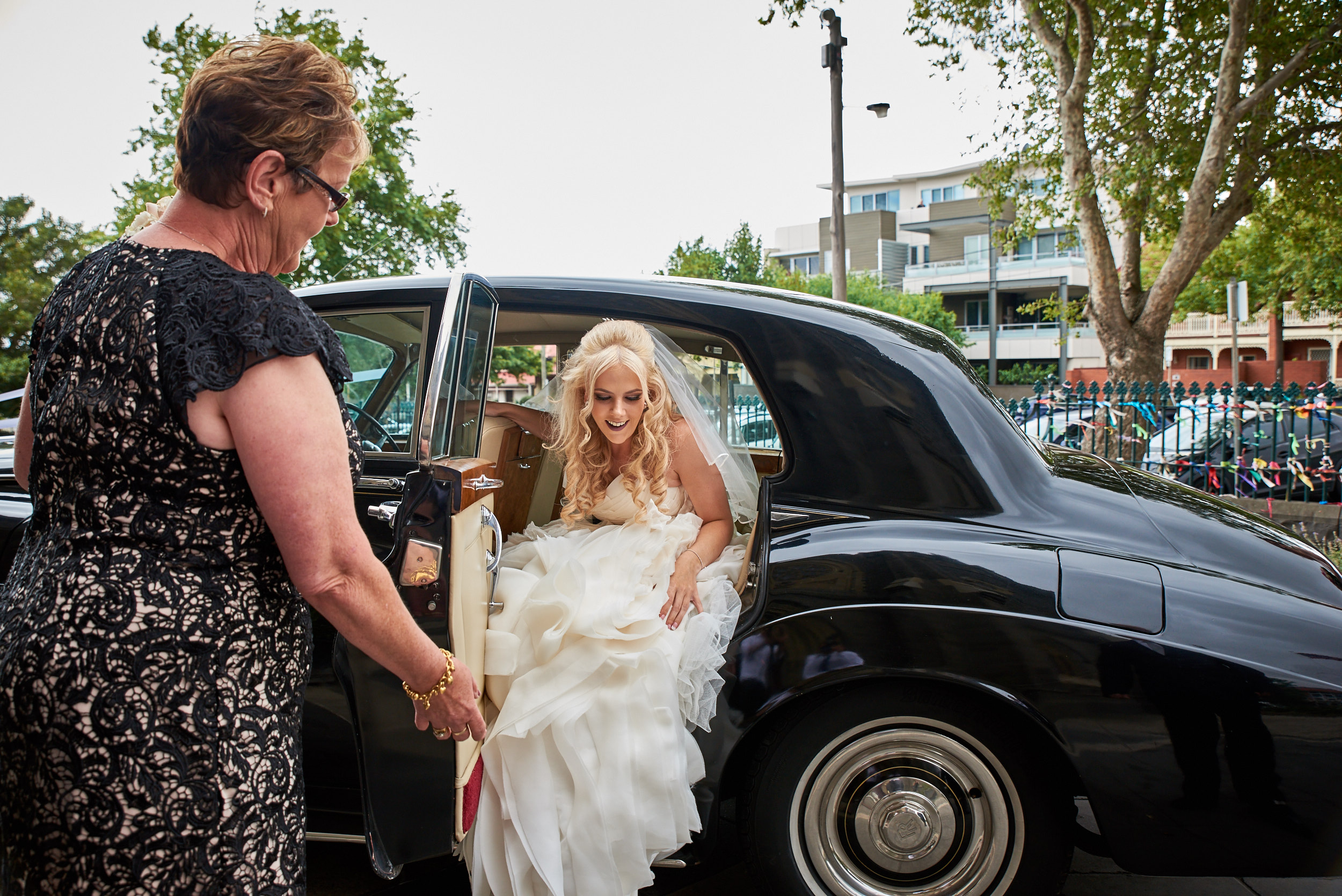 Bride arriving at St Mary of the Angels Basilica church in Geelong