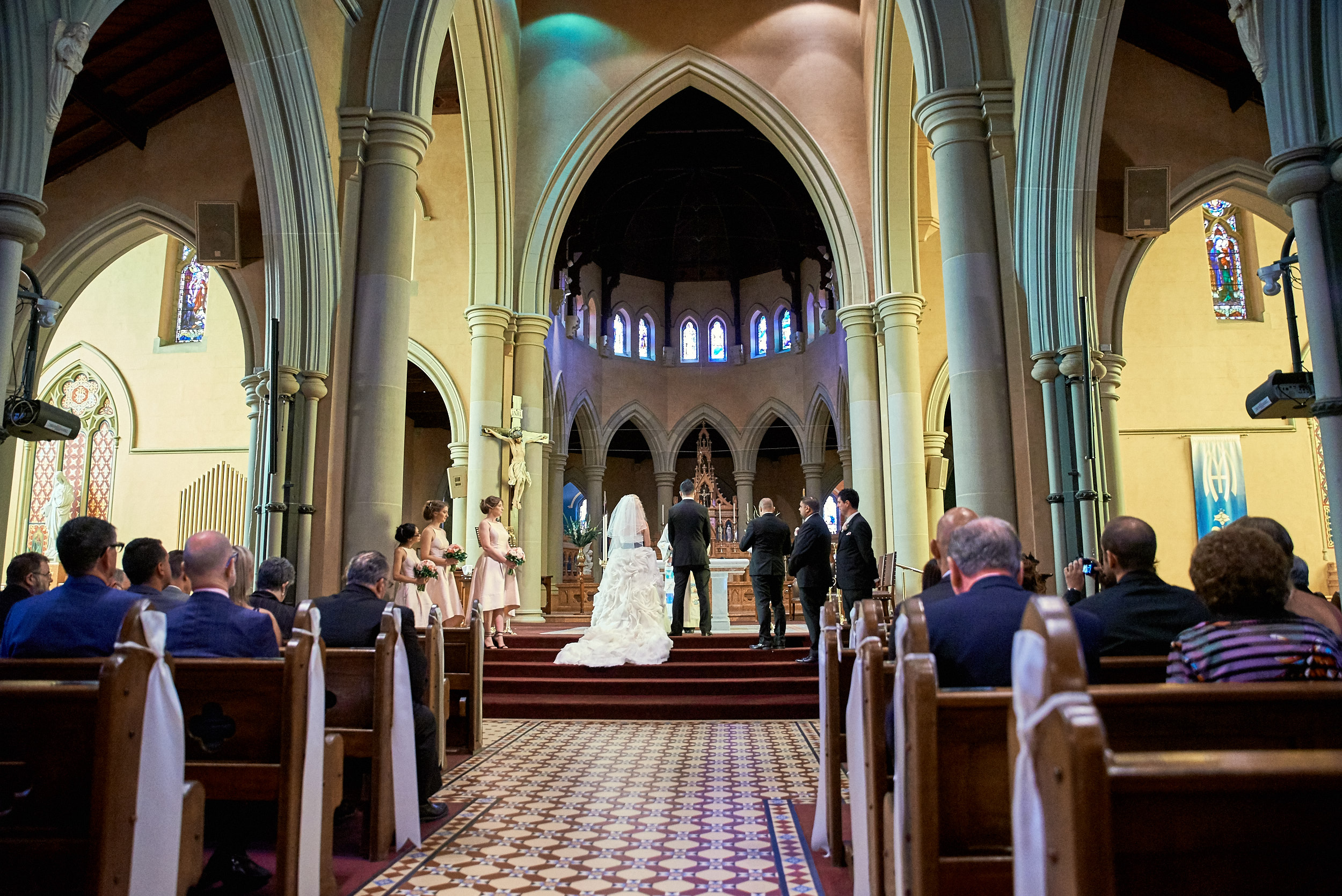 Wedding ceremony in St Mary of the Angels Basilica in Geelong