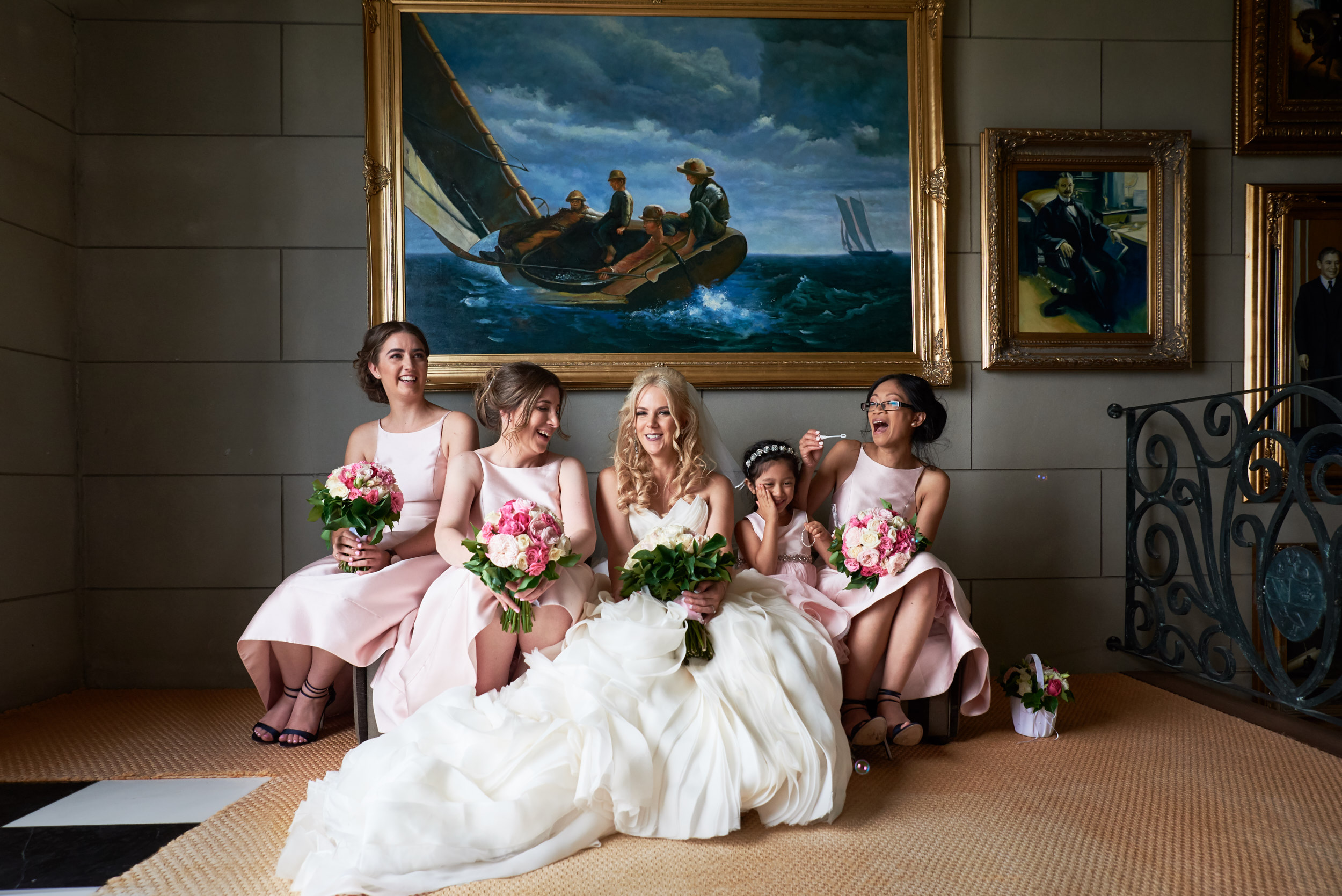 Bride and bridesmaid portrait at Campbell Point House