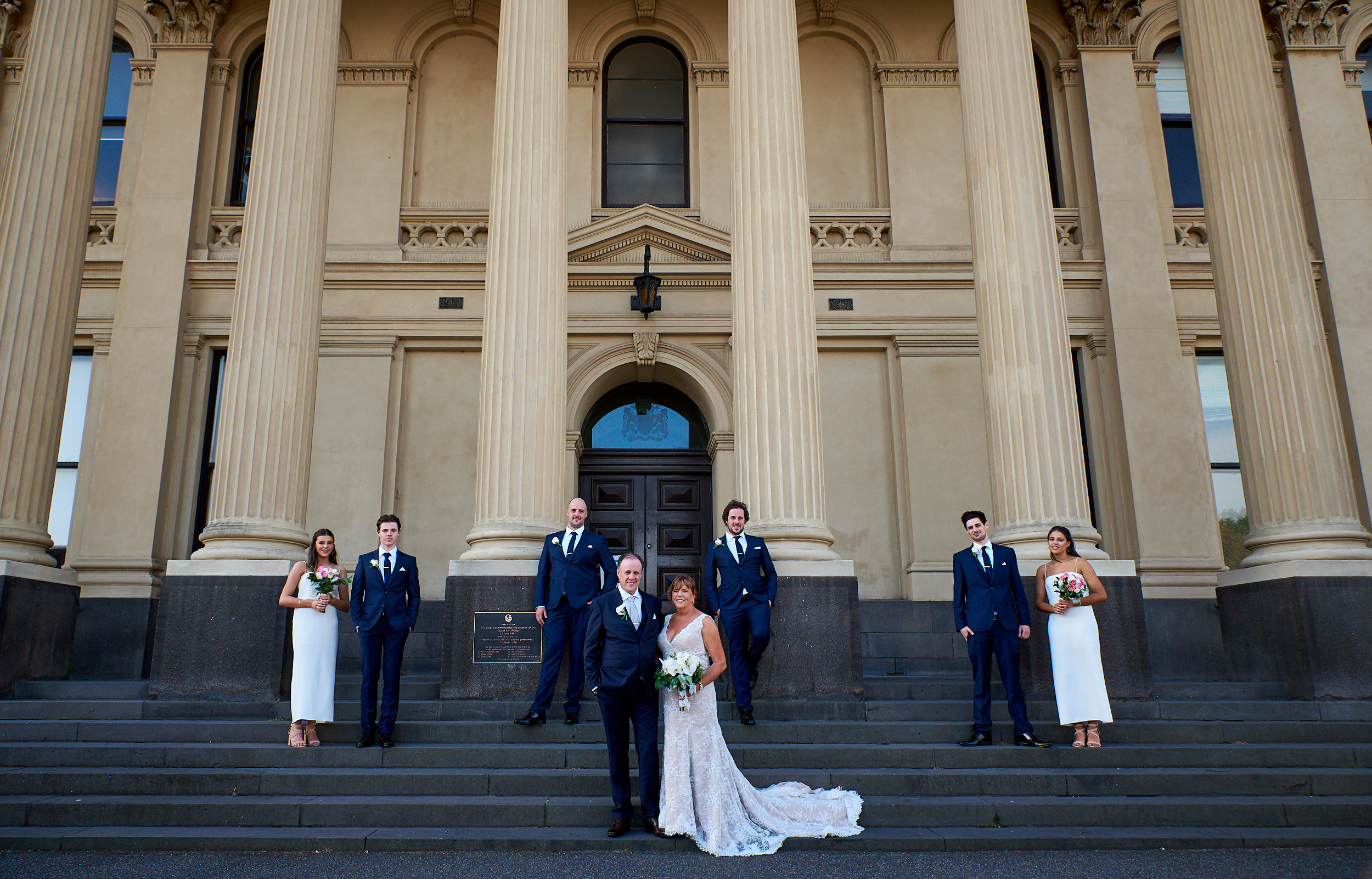 Bridal party on steps of Port Melbourne Town Hall non-hipster wedding.jpg