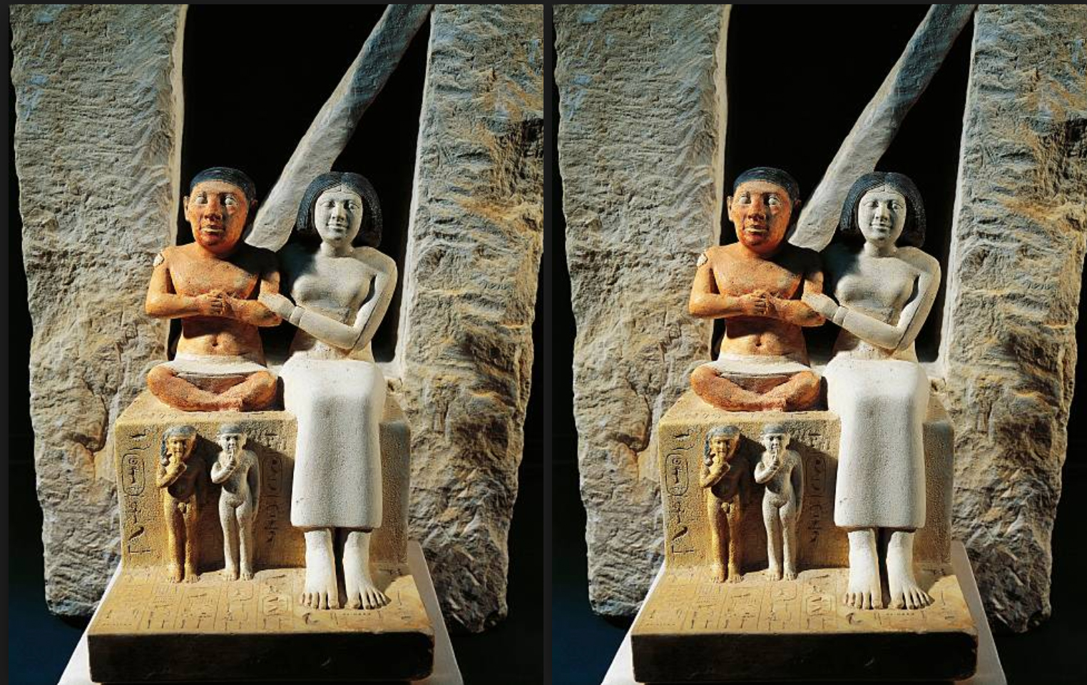 Egyptian civilization, Old Kingdom, Dynasty XXI. Statue of dwarf Seneb with his wife Sentiotes and children, from Giza.