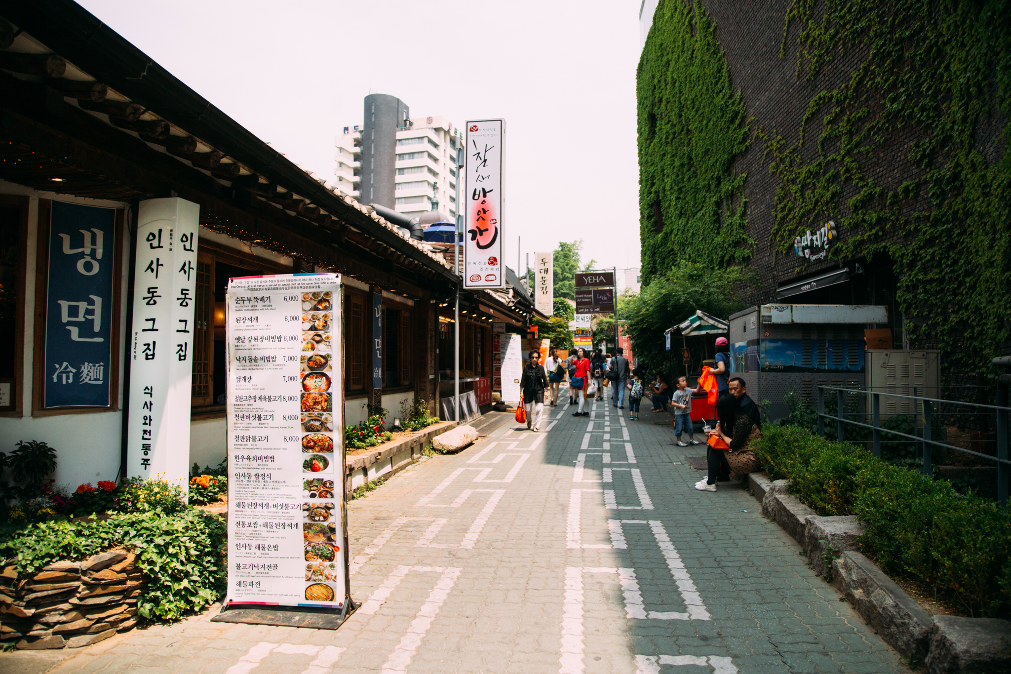 Afterwards we headed to Insa-dong Street. It's chock full of Korean traditional culture with antique art, street vendors, and traditional teahouses.