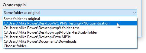 Frequently used folders in NXPowerLite Desktop 9