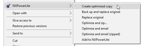 NXPowerLite Explorer right-click menu