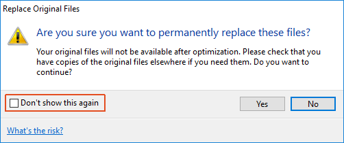 Replace original file warning dialog in NXPowerLite