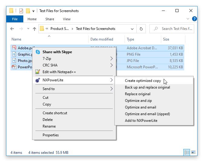 NXPowerLite right-click menu in Explorer