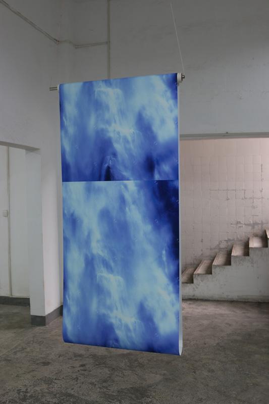 Tully Arnot , Waterfall , 2016,  digital print on fabric, shutterstock image, metal, plastic, motor, electronics,  120 x 350 x 15cm