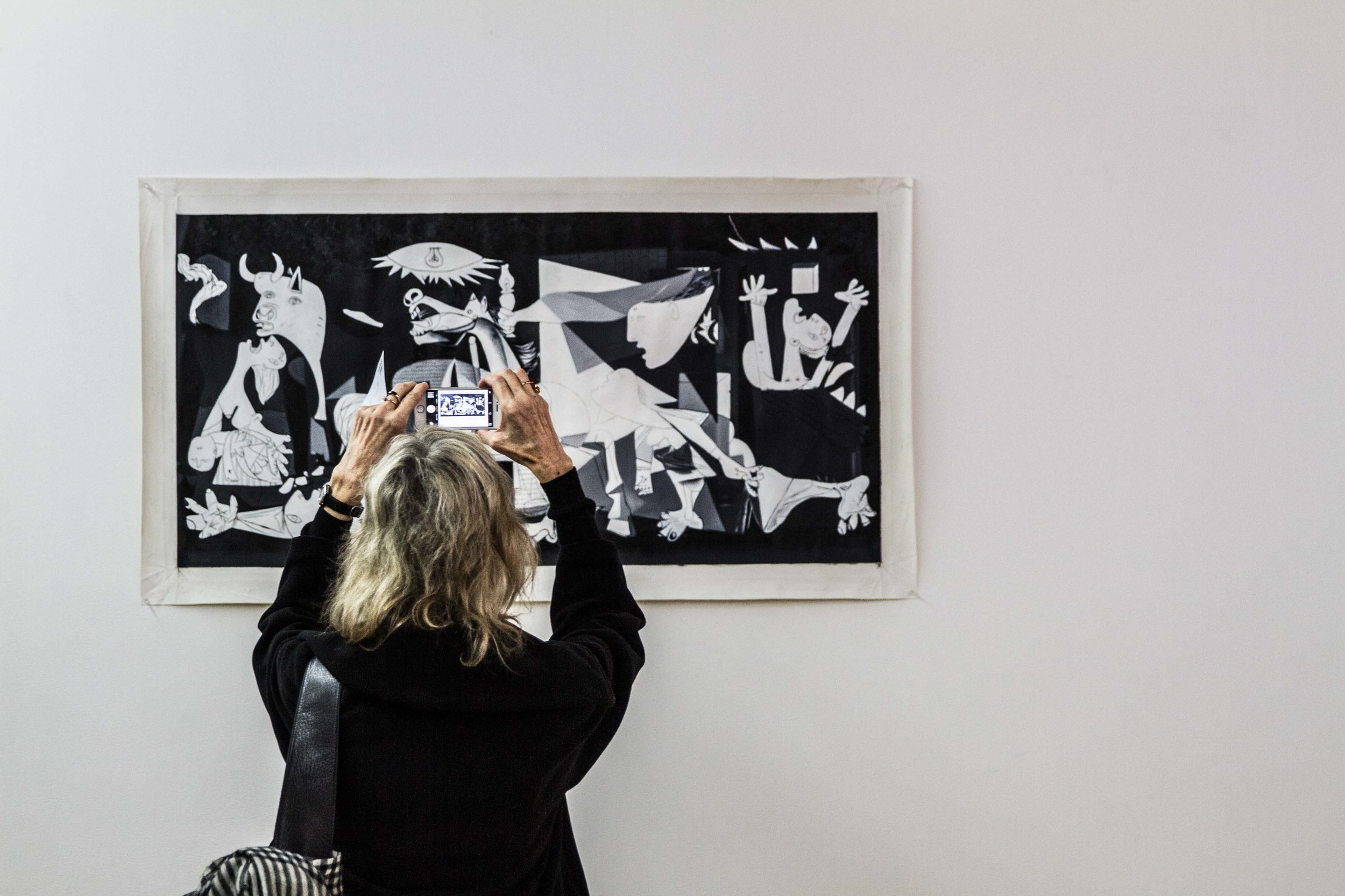 Artsheaven.com   painting-8598 (  Guernica) 2016 Installation view, The Fraud Complex ,West Space, Melbourne, 2016 oil painting reproduction on canvas Photograph: Alan Weedon.