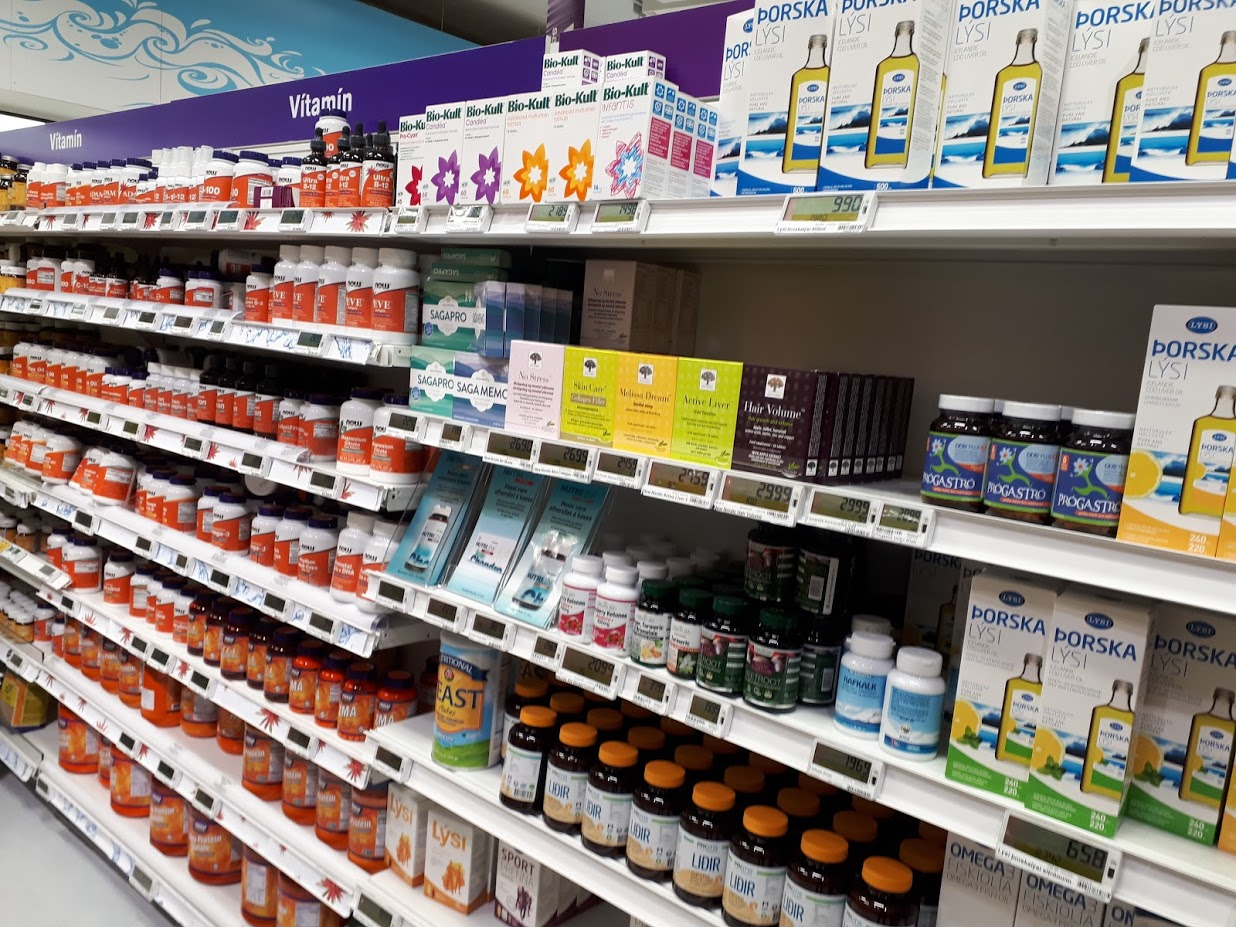 Supermarket section full of supplements in Reykjavik, Iceland. Photo: Anubha Garg