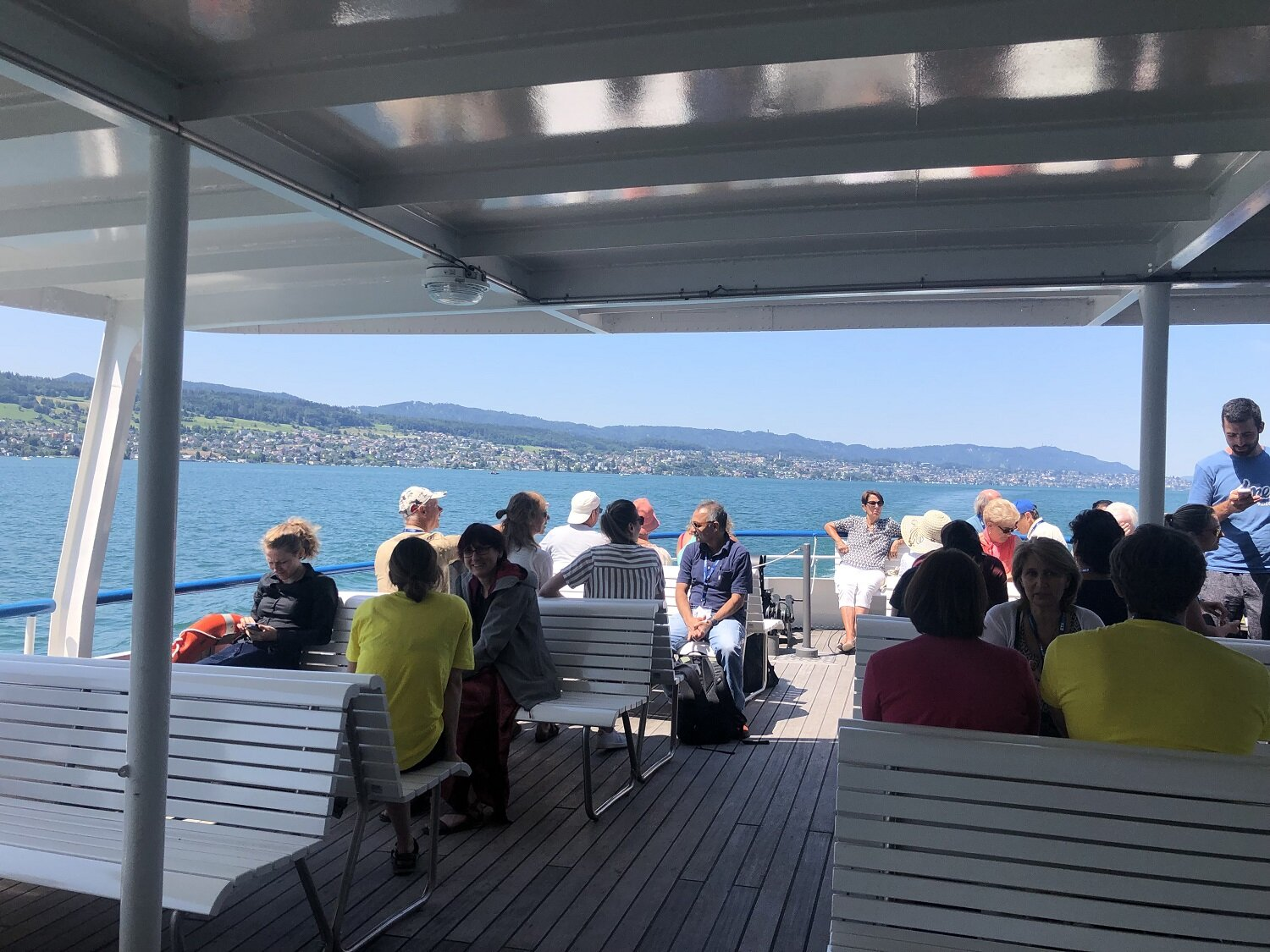 Participants and helpers enjoying a boat ride across Lake Zurich. Photo: G. Crain